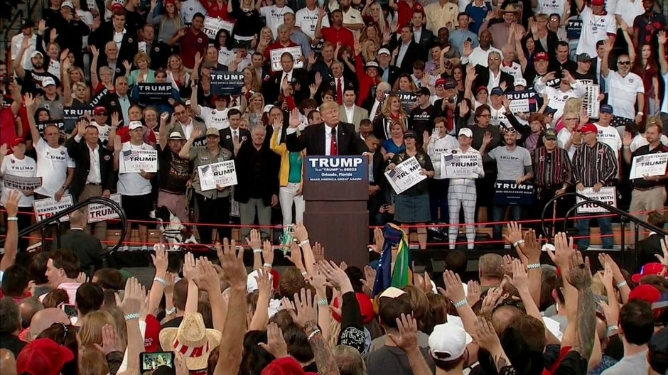Donald Trump on Saturday led a mass rally in taking a pledge affirming their commitment to voting for him, and vowed to broaden existing laws regarding the interrogation of captured terrorist suspects.
